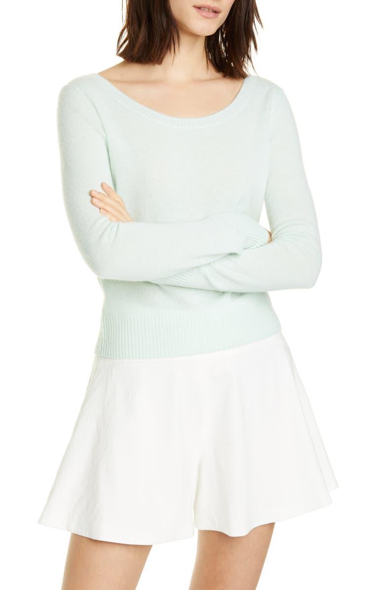 VINCE Ballet Neck Cashmere Sweater, Main, color, SEA FOAM