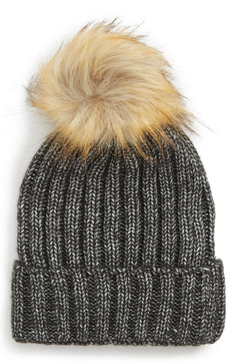 SOLE SOCIETY Faux Fur Pom Knit Beanie, Main, color, 020