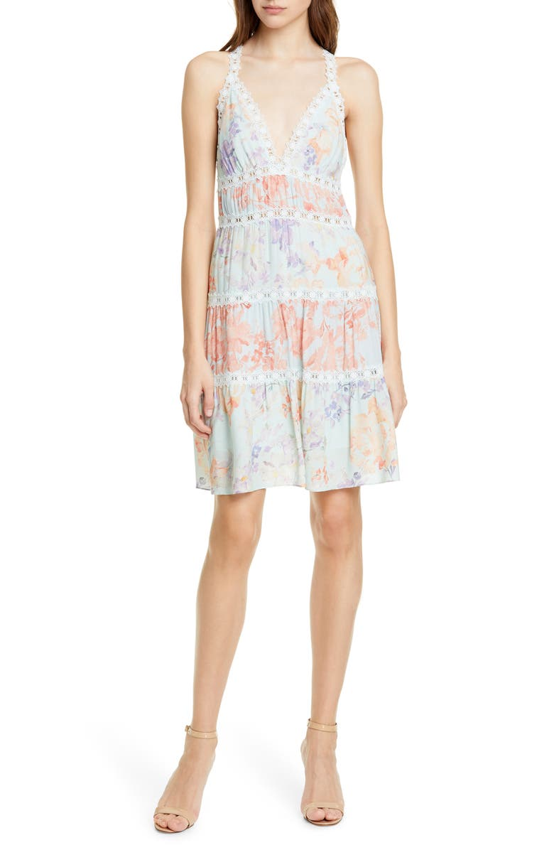 ALICE + OLIVIA Karolina Lace Trim Halter Neck Minidress, Main, color, 475
