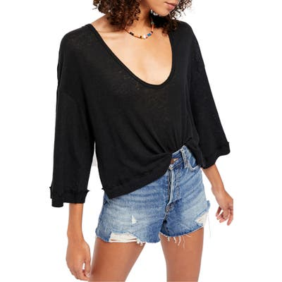 Free People Fresh Start Linen & Cotton Tee, Black