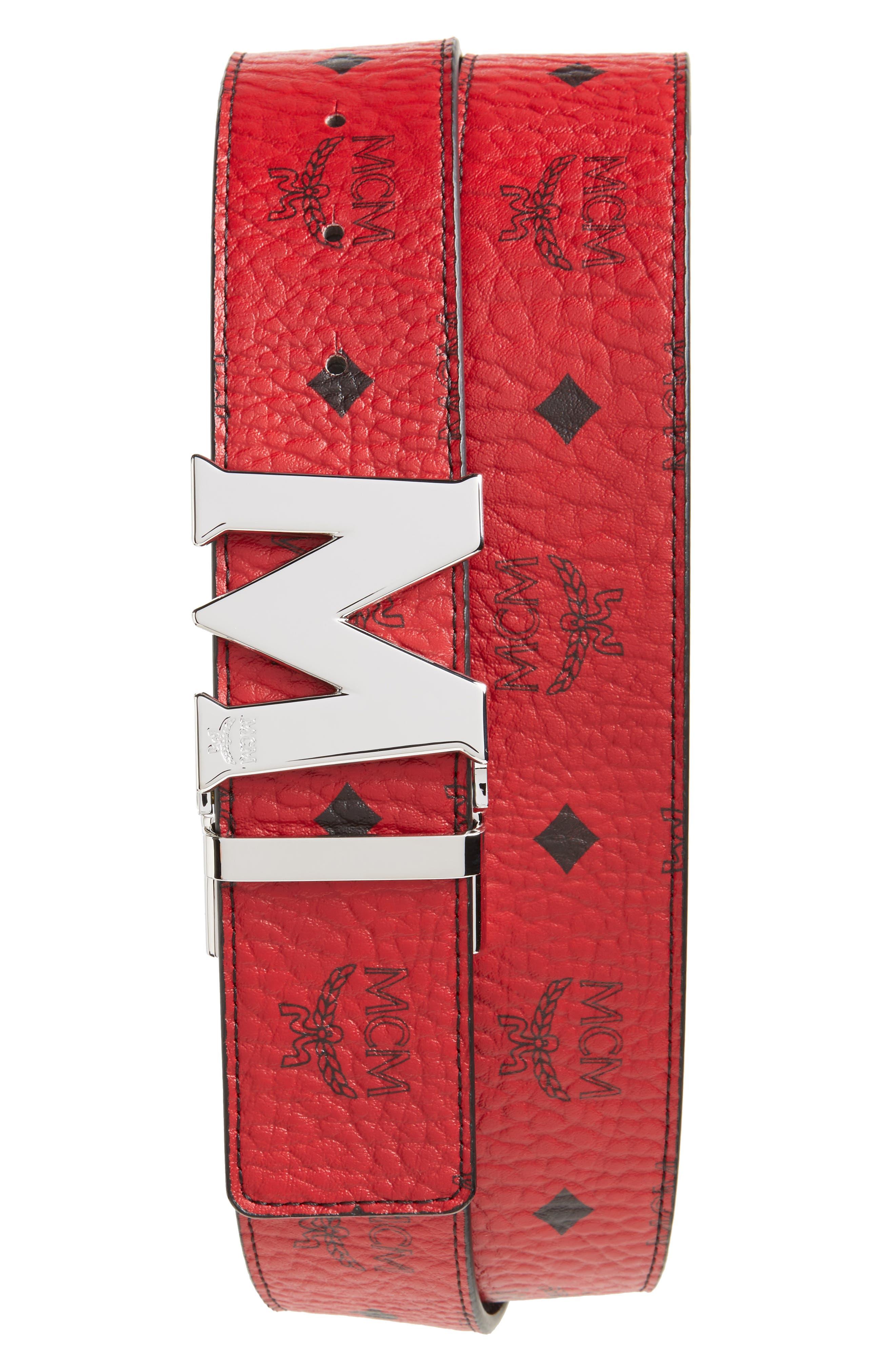,                             Reversible Signature Leather Belt,                             Main thumbnail 6, color,                             607