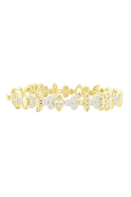 Image of Freida Rothman Fleur Bloom Petal Cluster 14K Gold Clad CZ Hinge Bangle