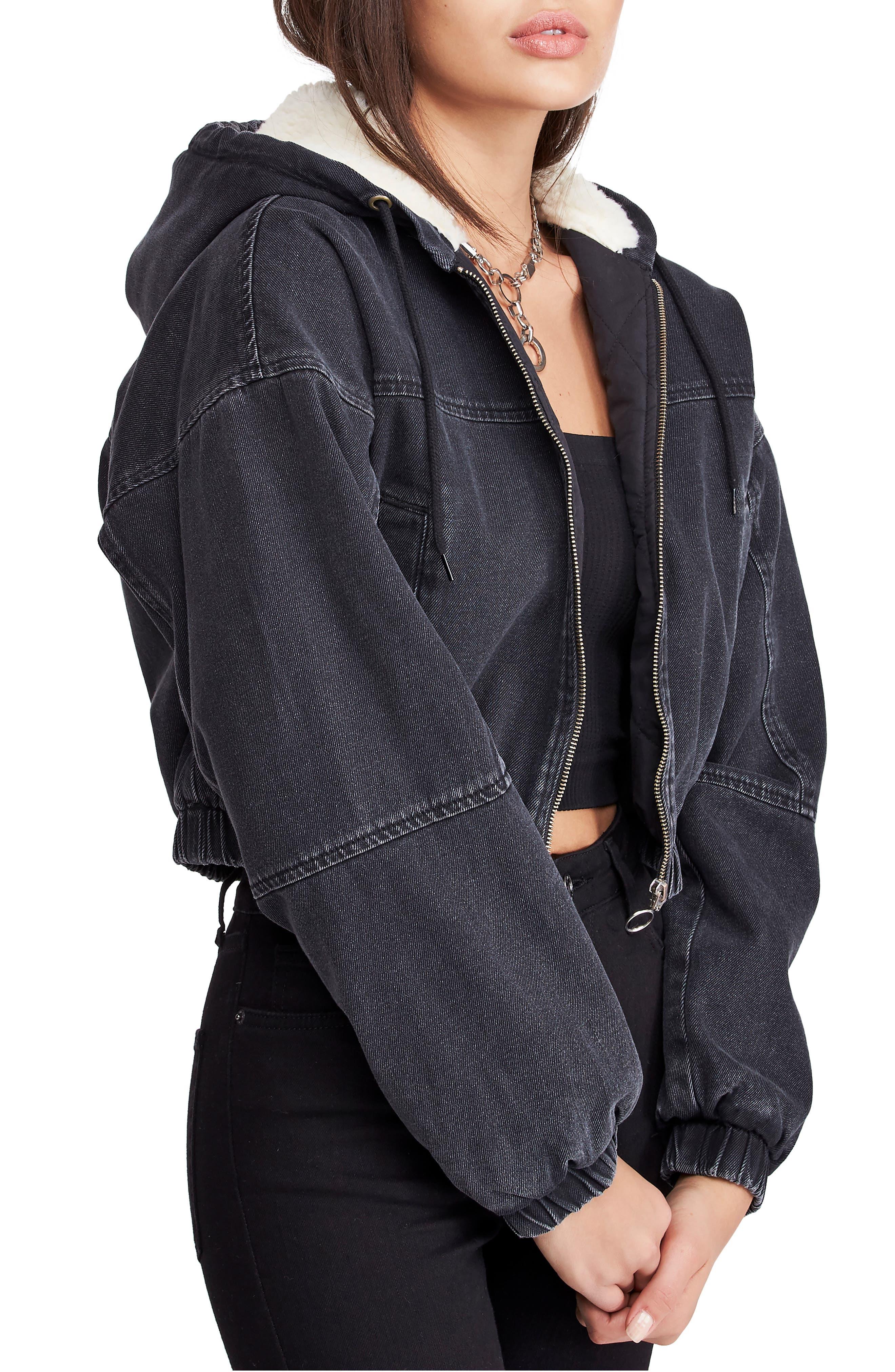 BDG Urban Outfitters Fleece Hood Crop Denim Jacket