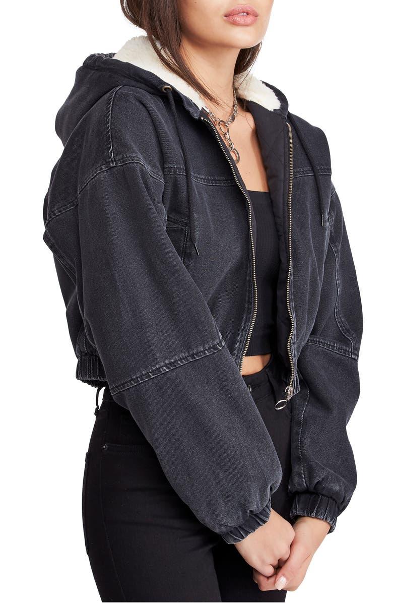 BDG Urban Outfitters Fleece Hood Crop Denim Jacket, Main, color, BLACK