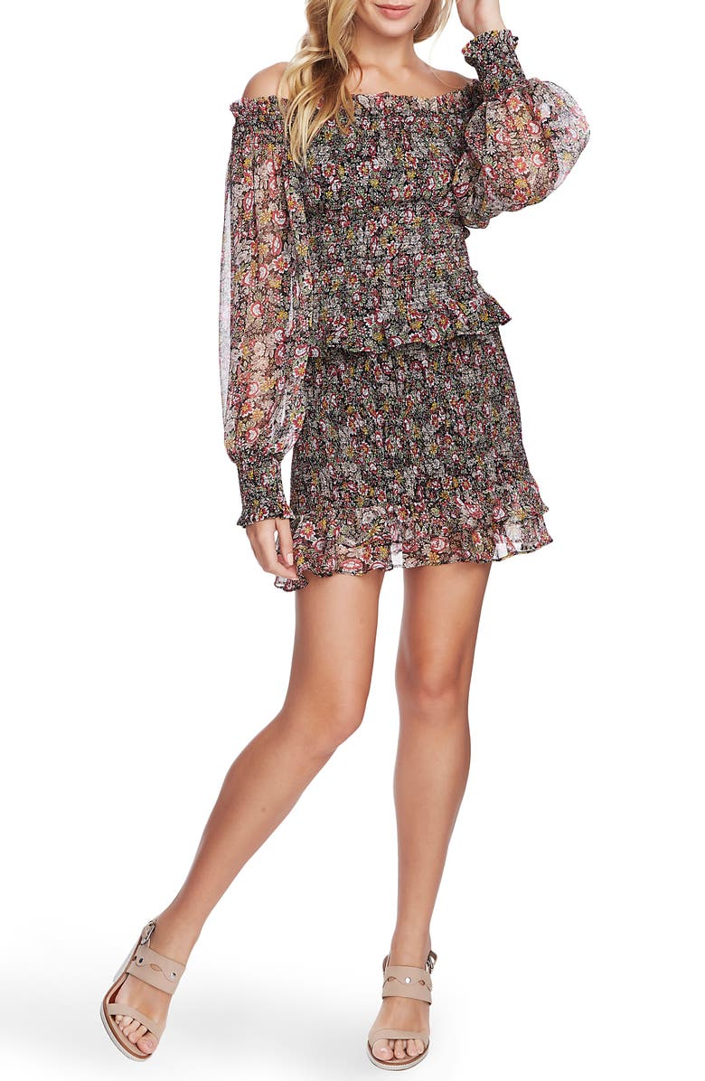 1.STATE Forest Gardens Smocked Miniskirt, Main, color, 001