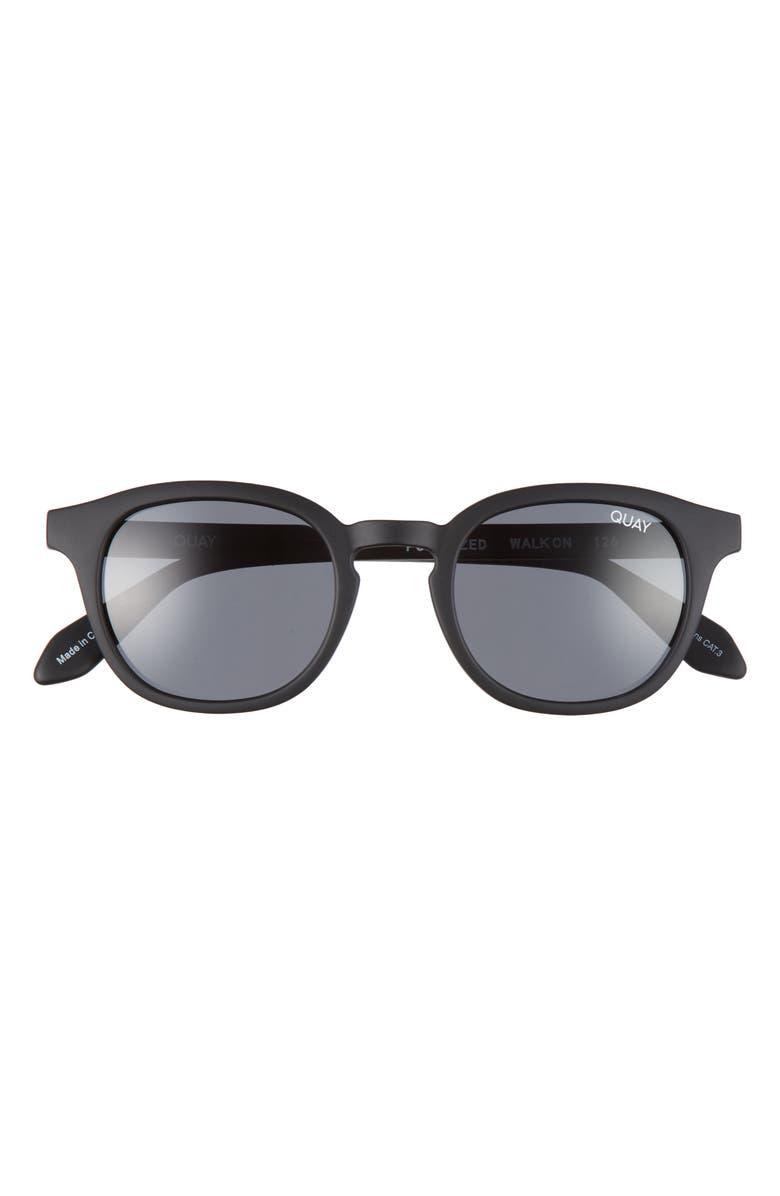 QUAY AUSTRALIA Walk On 47mm Polarized Sunglasses, Main, color, MATTE BLACK/ SMOKE