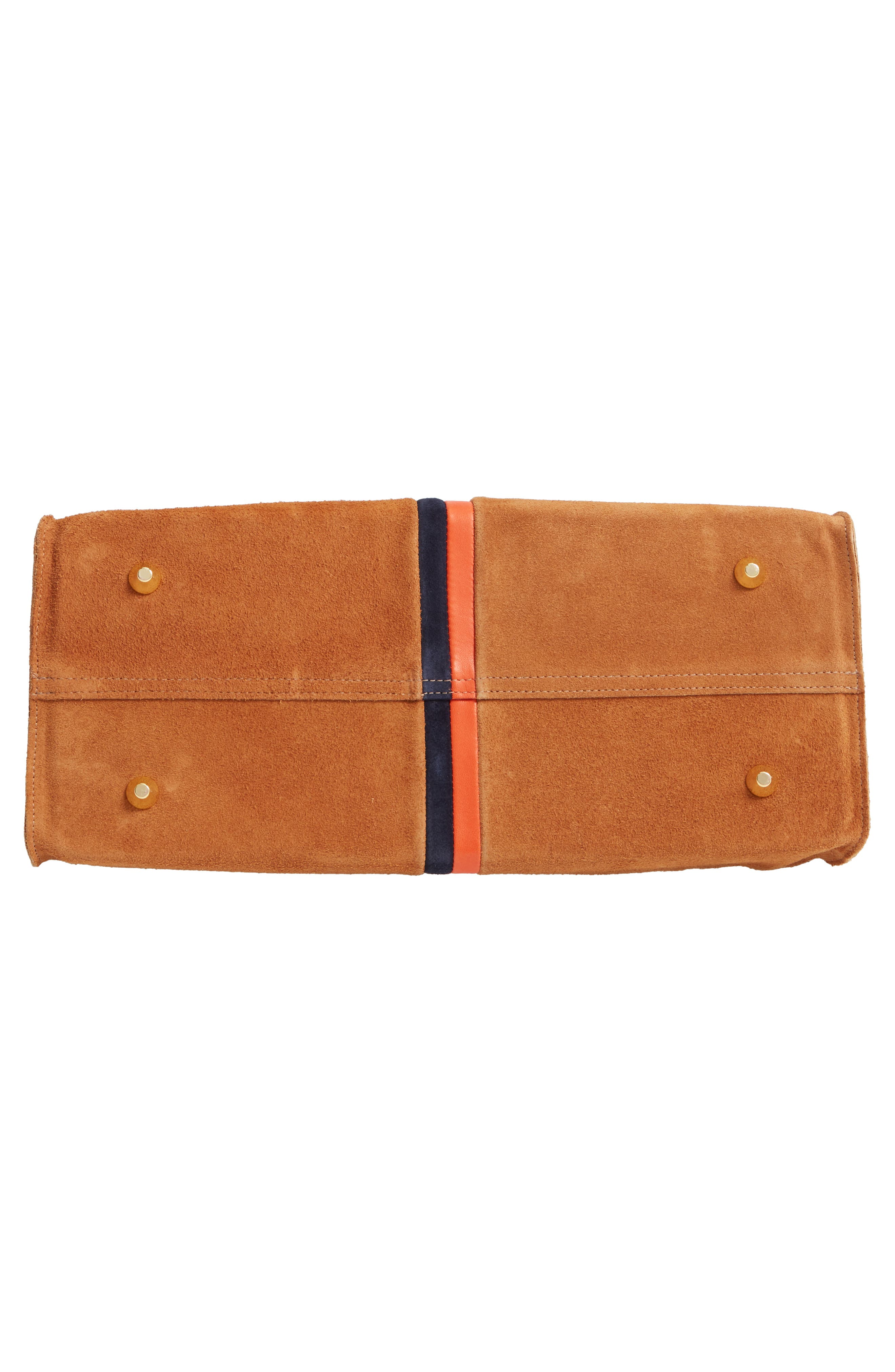 ,                             Simple Leather Tote,                             Alternate thumbnail 7, color,                             CAMEL/ NAVY RED STRIPES