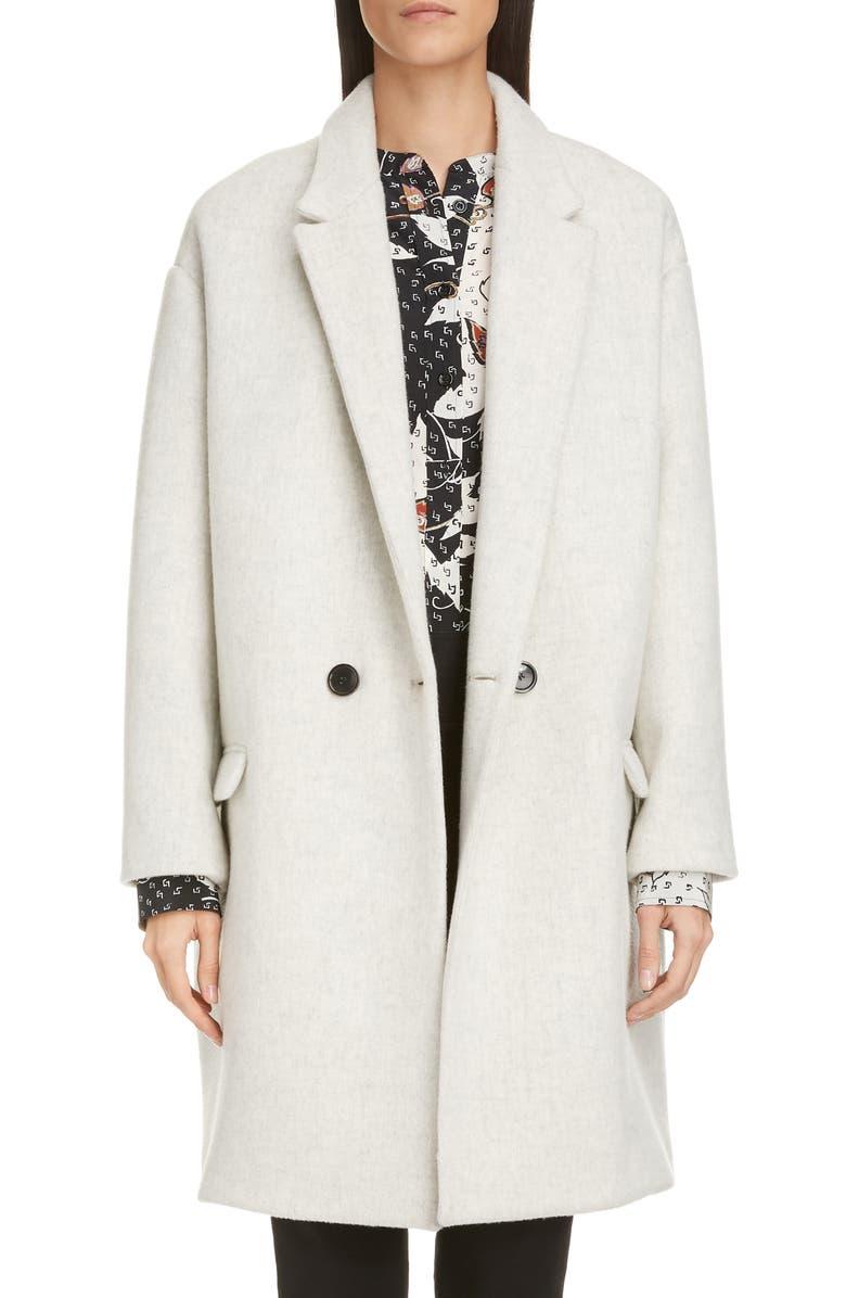 ISABEL MARANT Virgin Wool & Cashmere Blend Coat, Main, color, LIGHT GREY