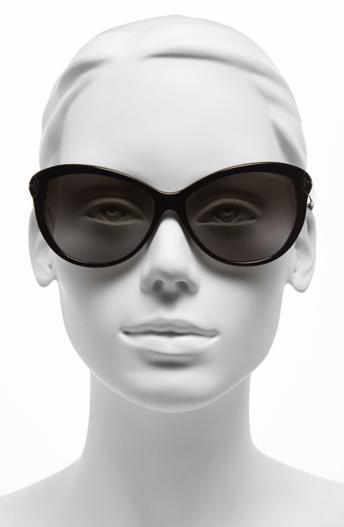 ,                             'Telma' 60mm Cat Eye Sunglasses,                             Alternate thumbnail 2, color,                             001