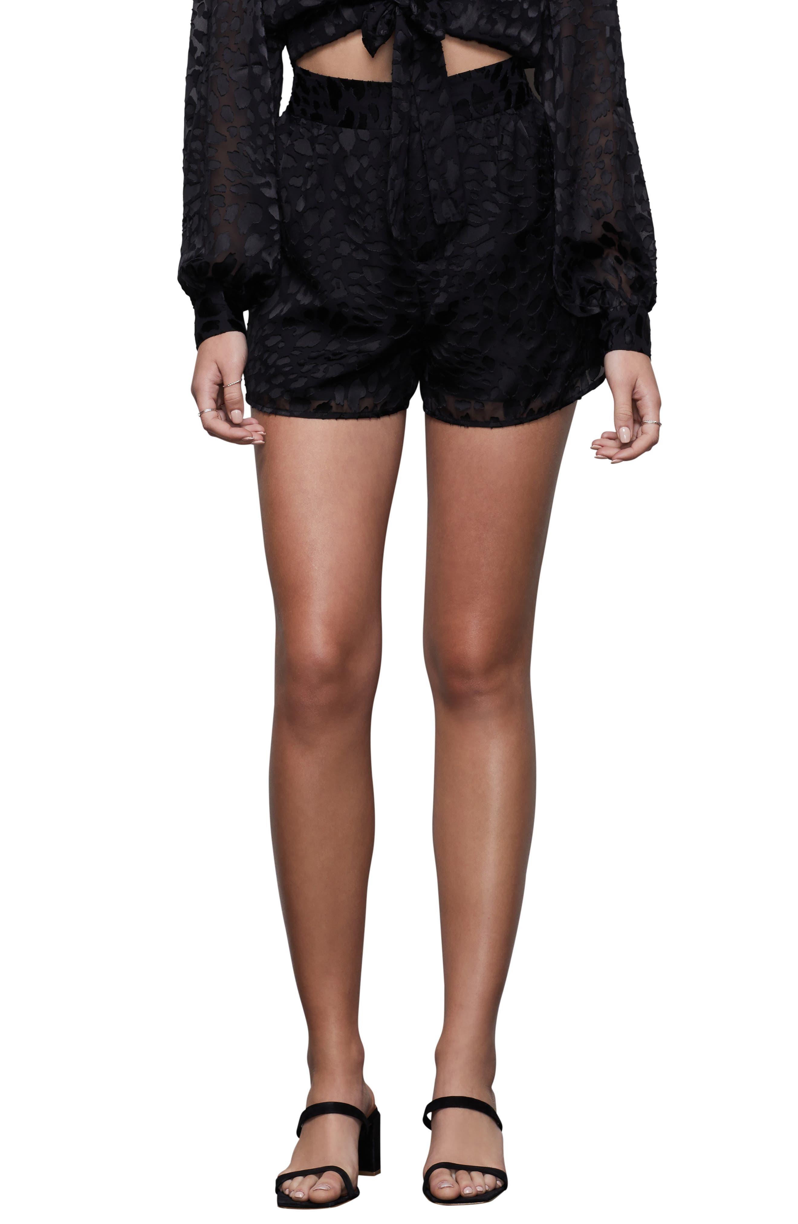 Plus  Women's Good American The Midnight Leopard Burnout Shorts,  4 (fits like 18-20US / 14-16W) - Black