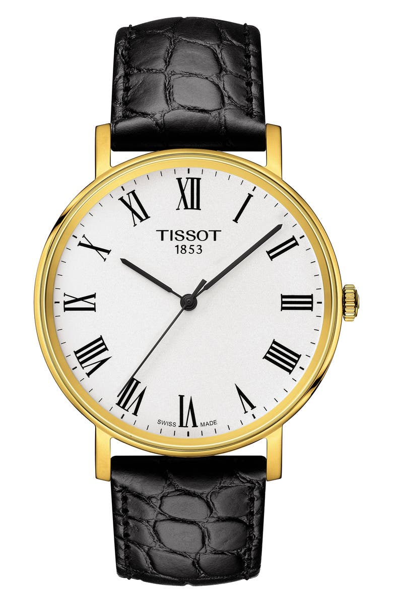 TISSOT Everytime Classic Leather Strap Watch, 38mm, Main, color, BLACK/ WHITE/ GOLD