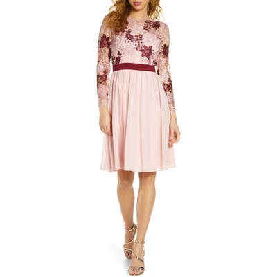 Chi Chi London Sutton Long Sleeve A-Line Dress, Pink