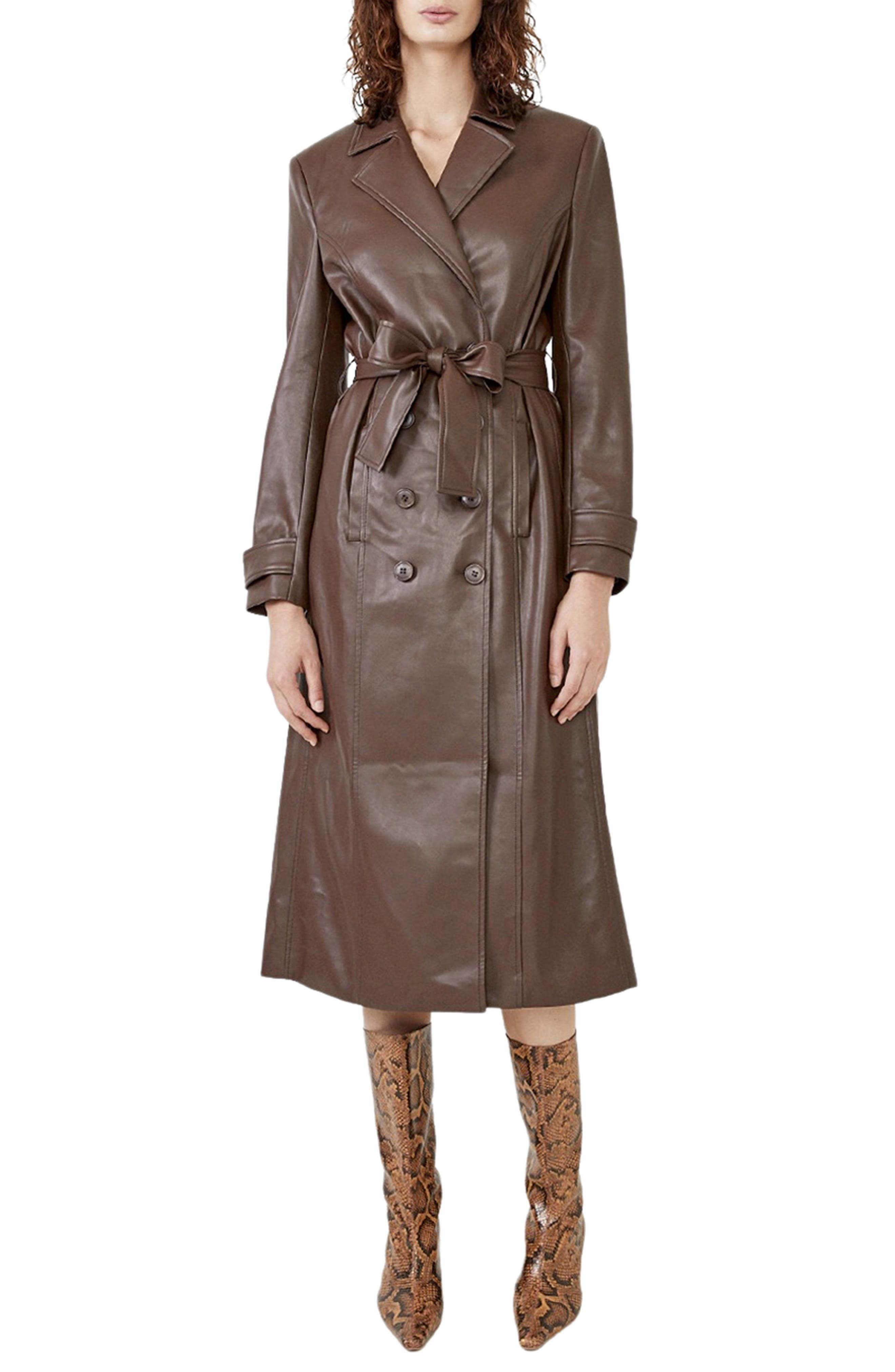 70s Clothes | Hippie Clothes & Outfits Womens Bardot Faux Leather Trench Coat Size Large - Brown $199.00 AT vintagedancer.com