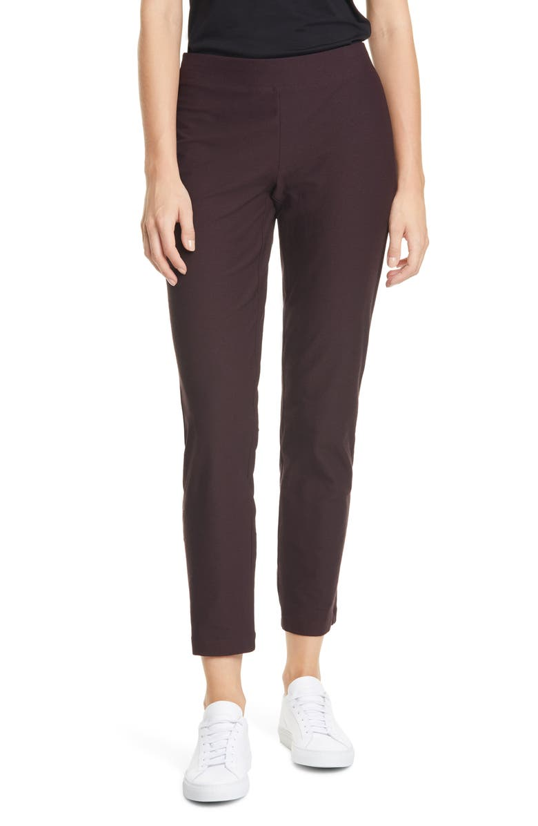 EILEEN FISHER Stretch Crepe Slim Ankle Pants, Main, color, CASSIS