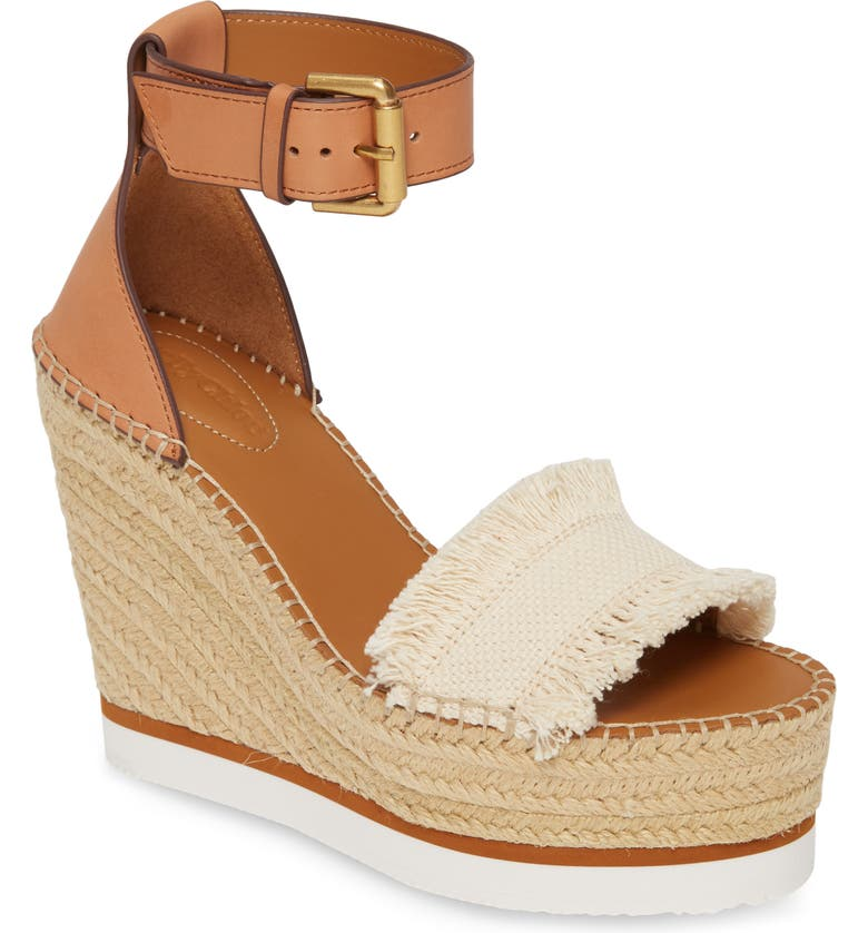 SEE BY CHLOÉ 'Glyn' Espadrille Wedge Sandal, Main, color, BIG CANVAS/ CANVAS