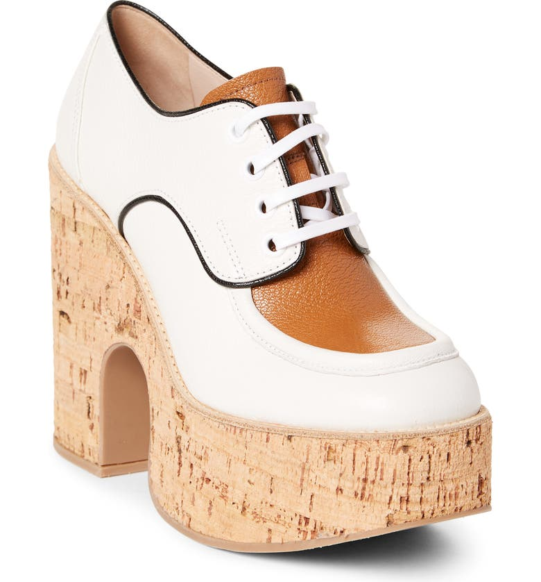 MIU MIU Platform Derby, Main, color, WHITE