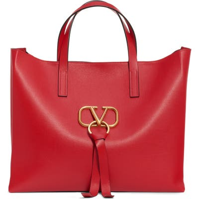 Valentino Garavani V-Ring Leather Tote - Red