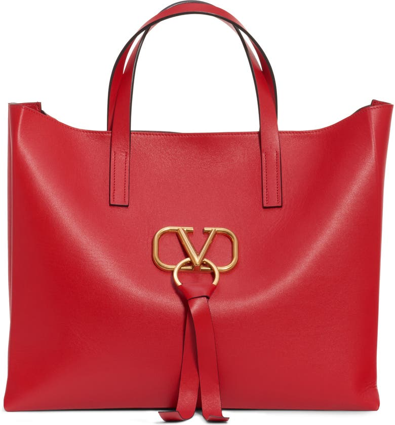 VALENTINO GARAVANI V-Ring Leather Tote, Main, color, 645