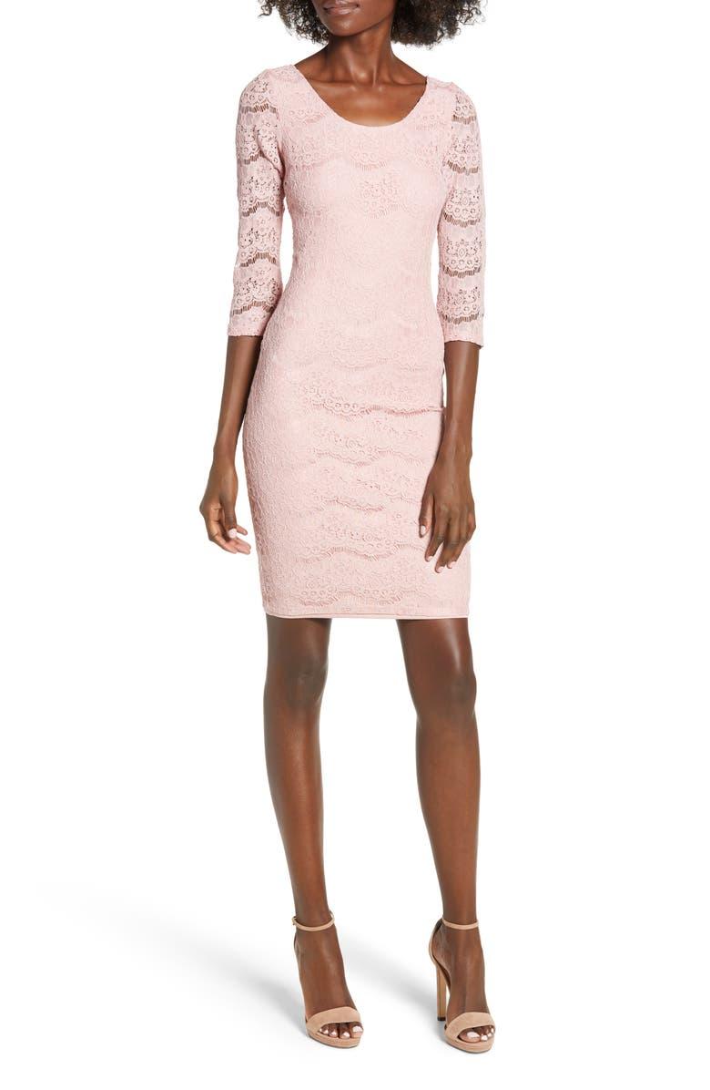LOVE, FIRE Lace Body-Con Dress, Main, color, 680