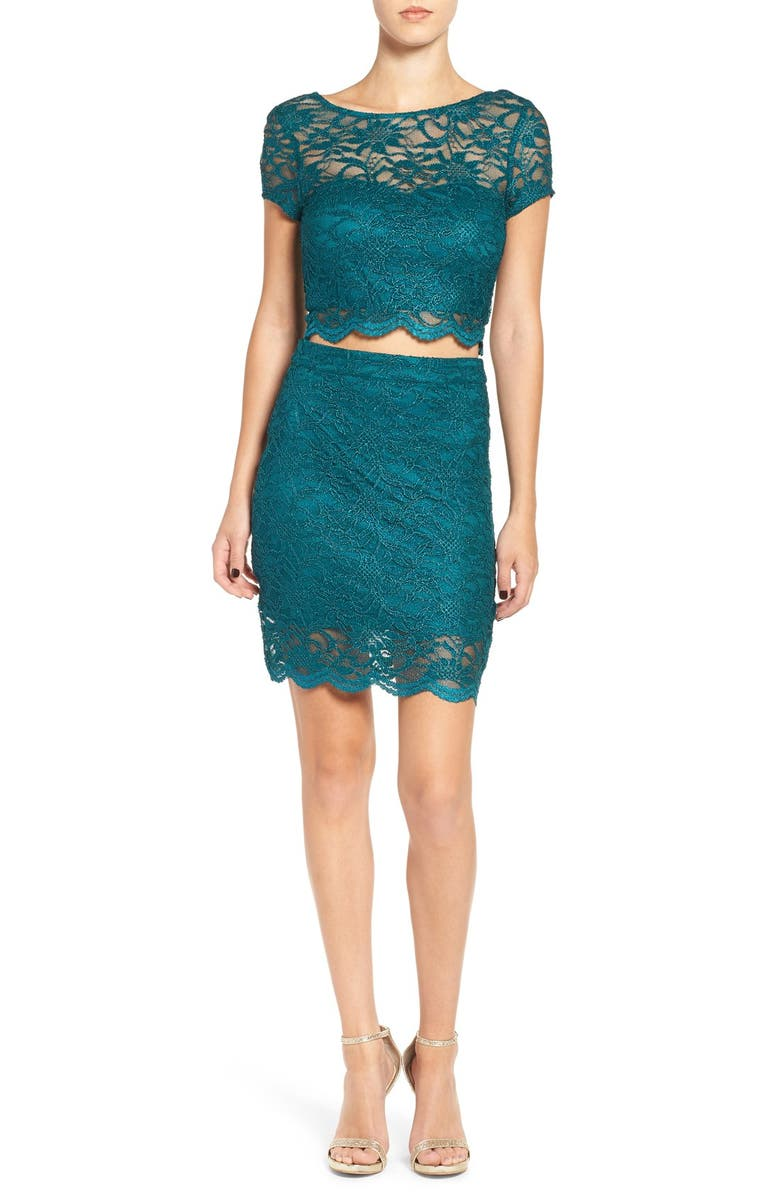 SPEECHLESS Two-Piece Lace Body-Con Dress, Main, color, 440
