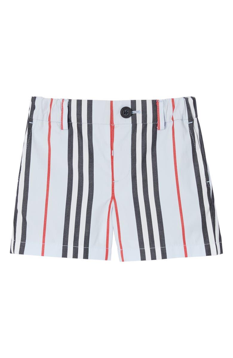 BURBERRY Nicki Icon Stripe Shorts, Main, color, PALE BLUE