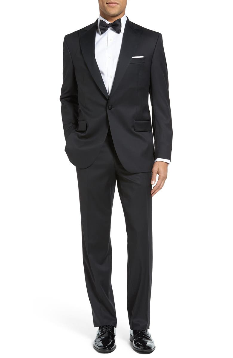 DAVID DONAHUE Russell Classic Fit Loro Piana Wool Peaked Lapel Tuxedo, Main, color, BLACK