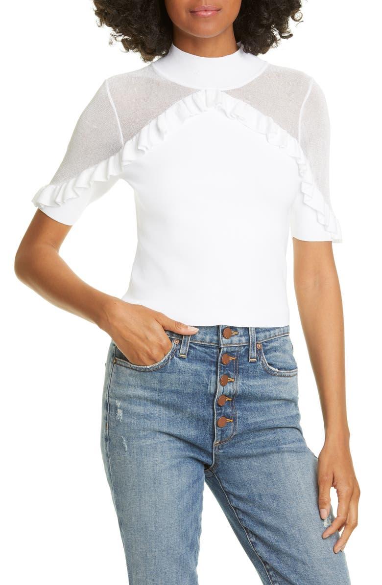ALICE + OLIVIA Chiara Ruffle Crop Sweater, Main, color, SOFT WHITE
