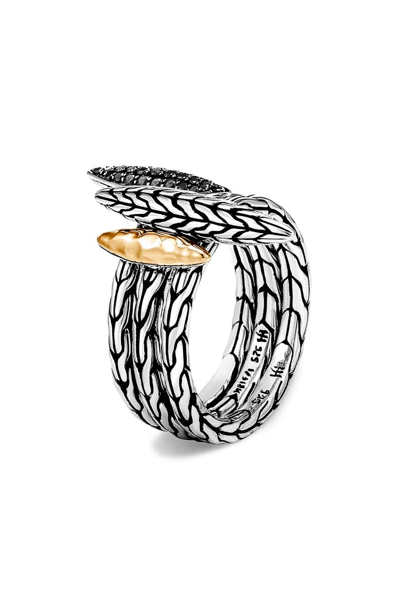 JOHN HARDY Classic Chain Hammered Spear Two-Tone Stacking Ring Set, Main, color, SILVER/ GOLD
