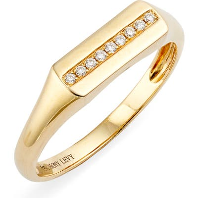 Bony Levy Kiera Boyfriend Diamond Signet Ring (Nordstrom Exclusive)
