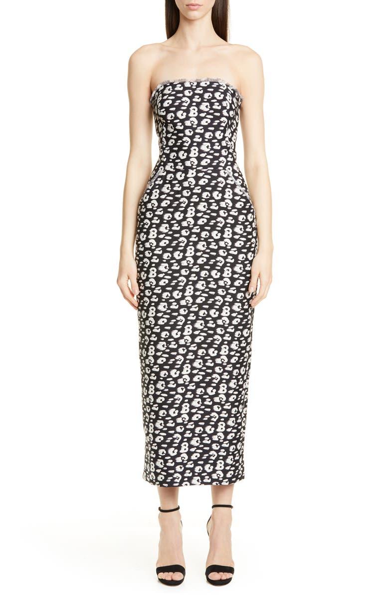 BRANDON MAXWELL Cheetah Print Shantung Strapless Tea Length Dress, Main, color, 001