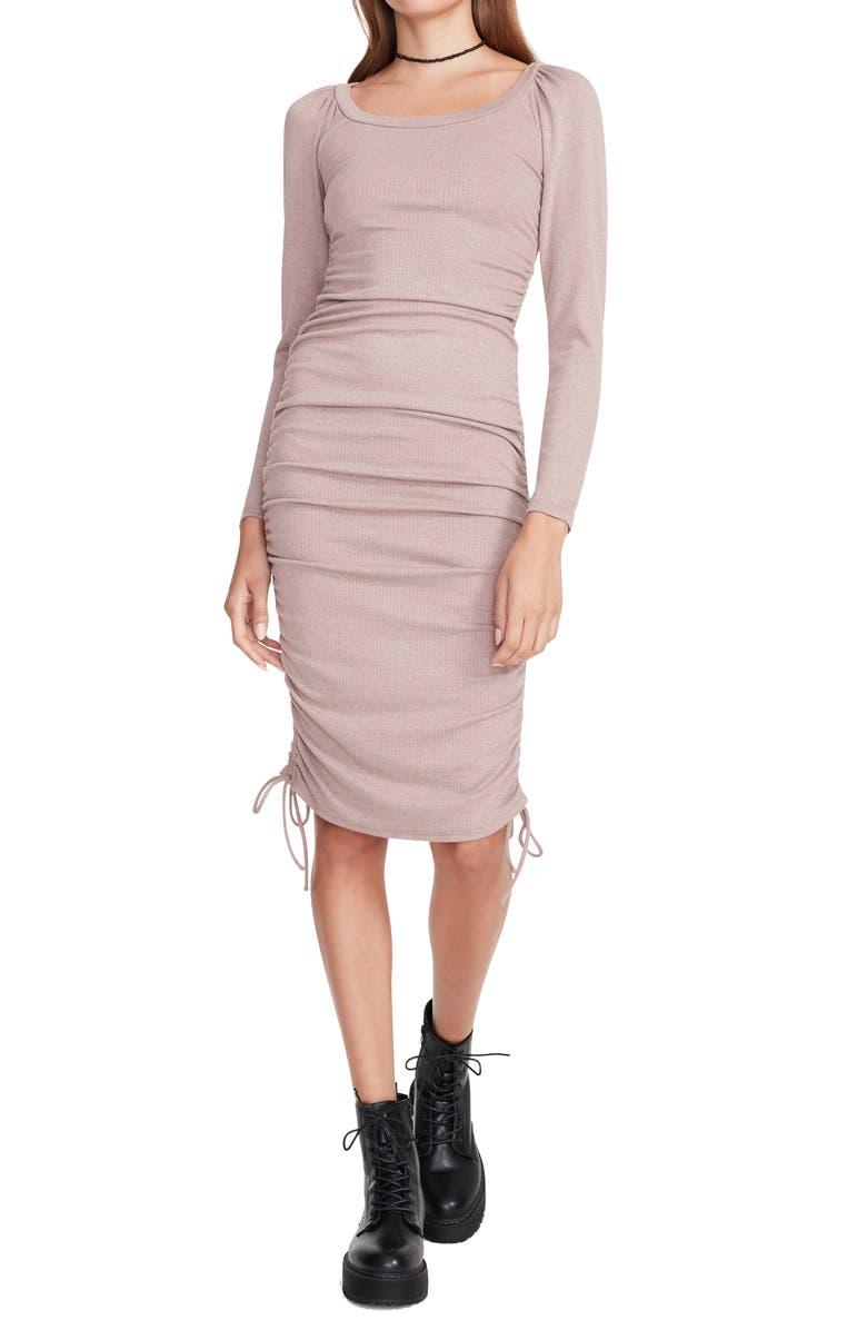 Long Sleeve Ruched Rib Knit Midi Dress   Nordstromrack