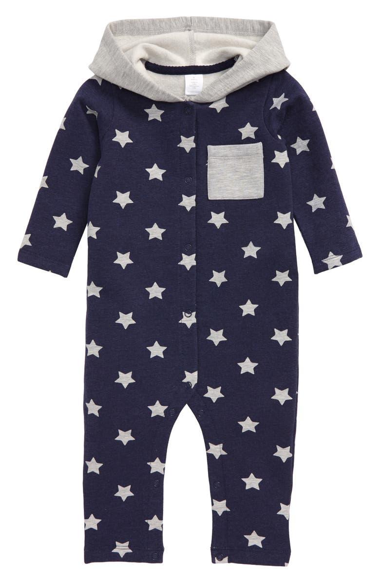 NORDSTROM Print Hooded Romper, Main, color, NAVY PEACOAT- GREY STARS