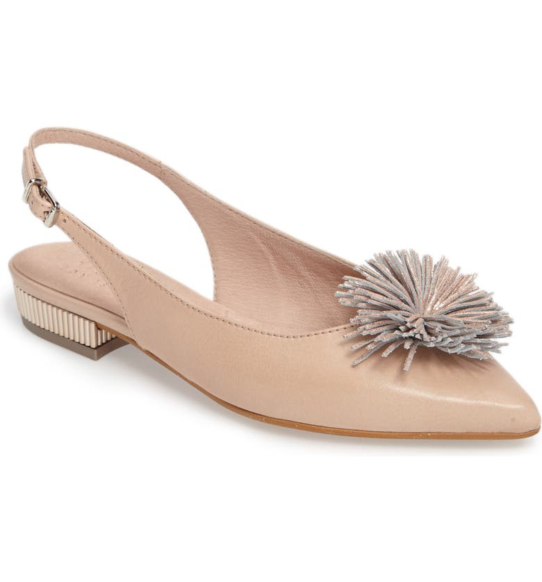 HISPANITAS Freya Pompom Slingback Flat, Main, color, SOHO ECRU LEATHER