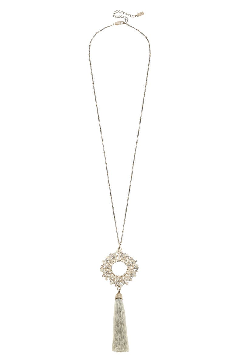 CANVAS JEWELRY Canvas Glass Circle Tassel Pendant Necklace, Main, color, IVORY