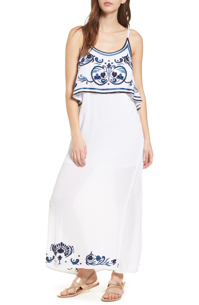 RAGA Mediterranean Embroidered Maxi Dress, Main, color, 100