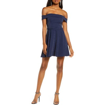 Sequin Hearts Off The Shoulder Minidress, Blue