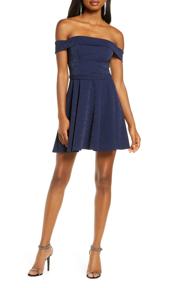 SEQUIN HEARTS Off the Shoulder Minidress, Main, color, NAVY/ SILVER