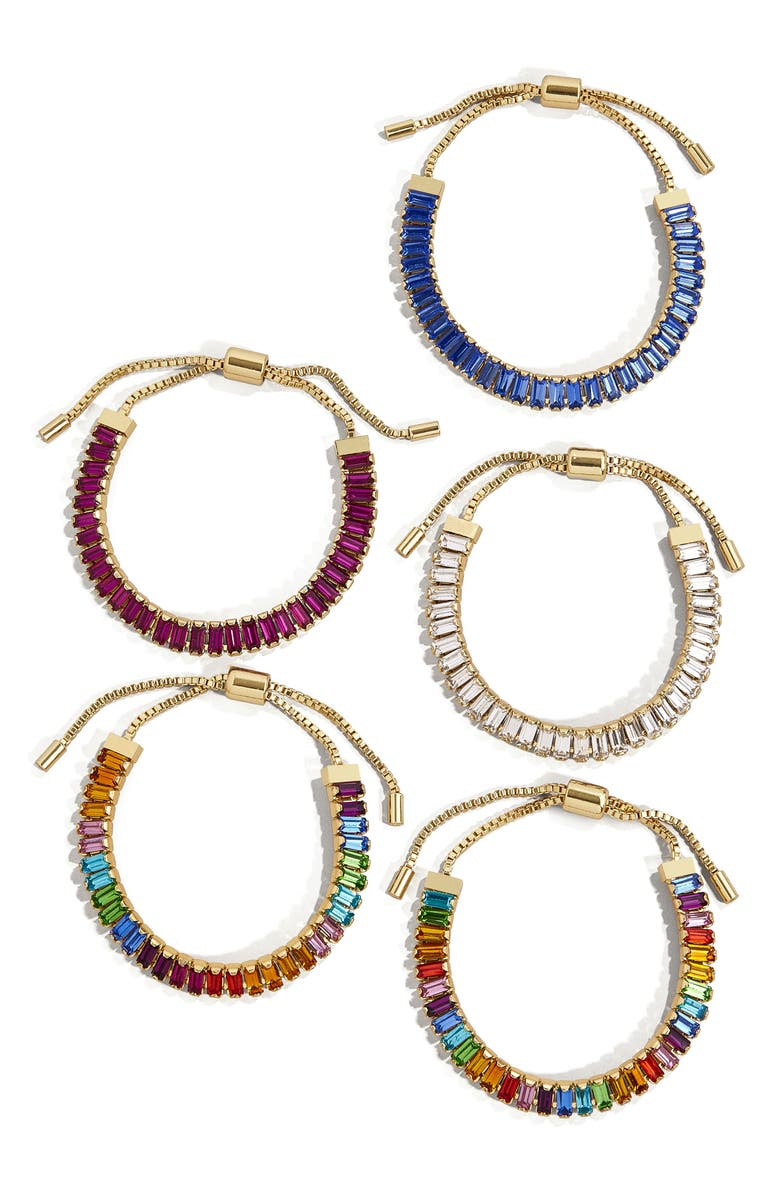 BAUBLEBAR Alidia Set of 5 Crystal Pull Through Bracelets, Main, color, RAINBOW MULTI