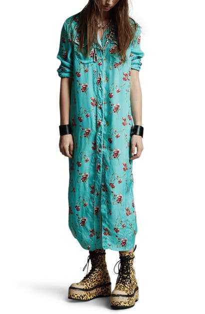R13 COWBOY FLORAL MIDI SHIRTDRESS