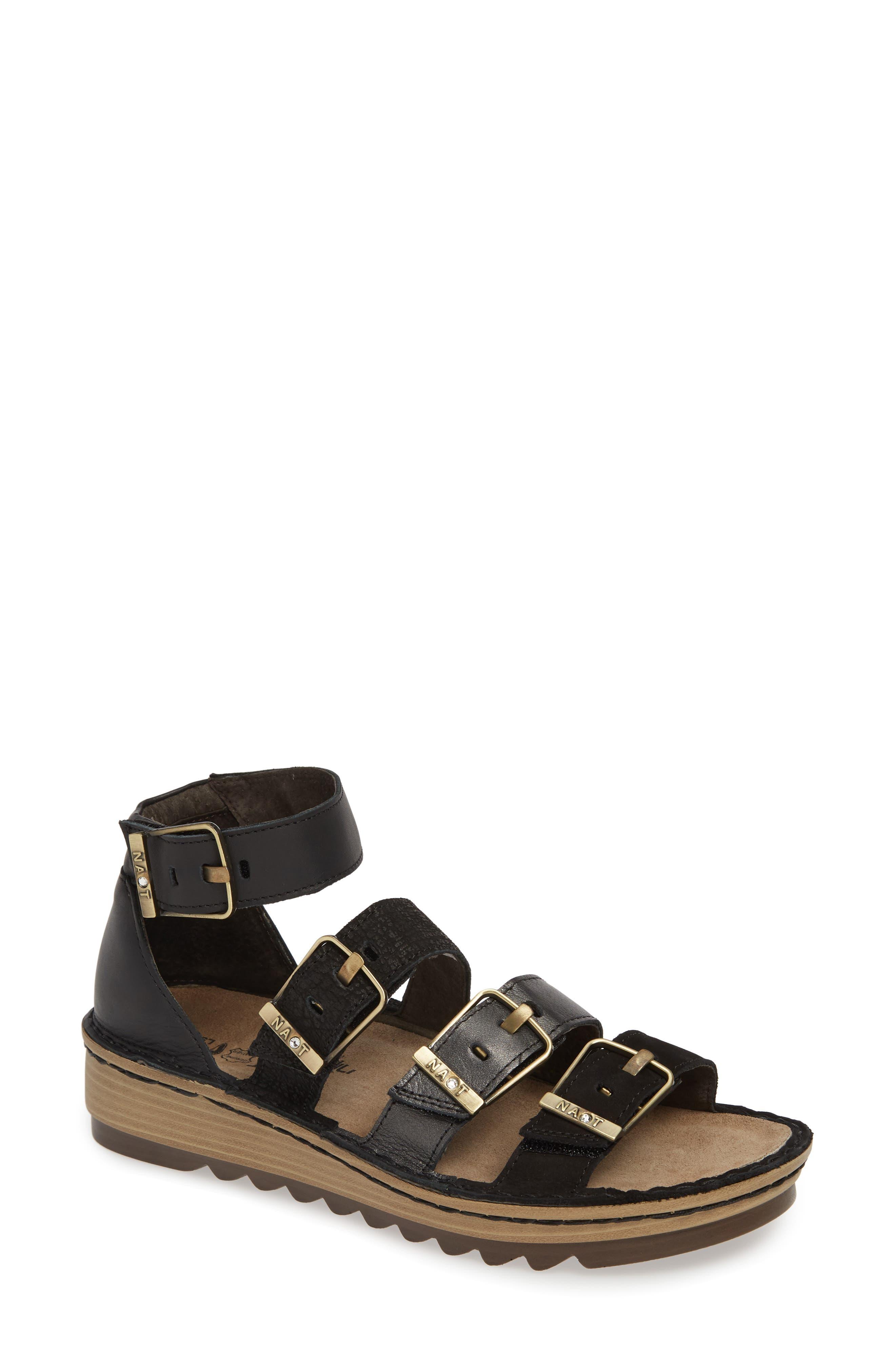 'Begonia' Sandal, Main, color, BLACK/ BLACK LEATHER