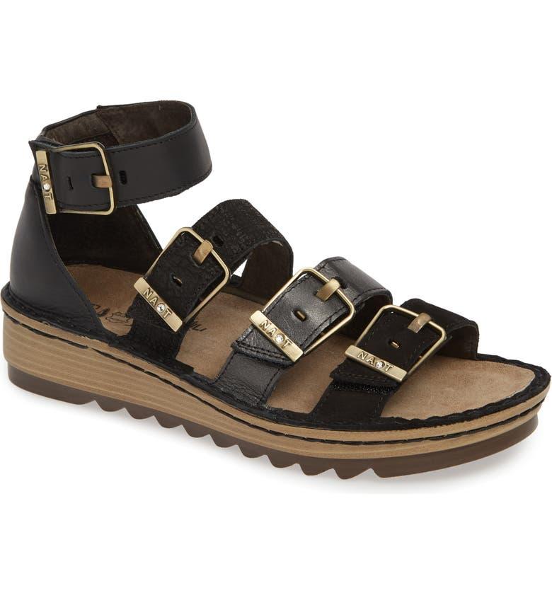 NAOT 'Begonia' Sandal, Main, color, BLACK/ BLACK LEATHER