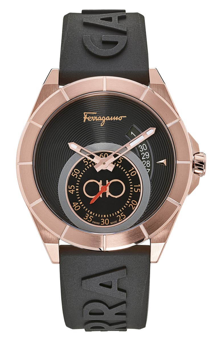 SALVATORE FERRAGAMO Urban Silicon Strap Watch, 43mm, Main, color, BLACK/ ROSE GOLD