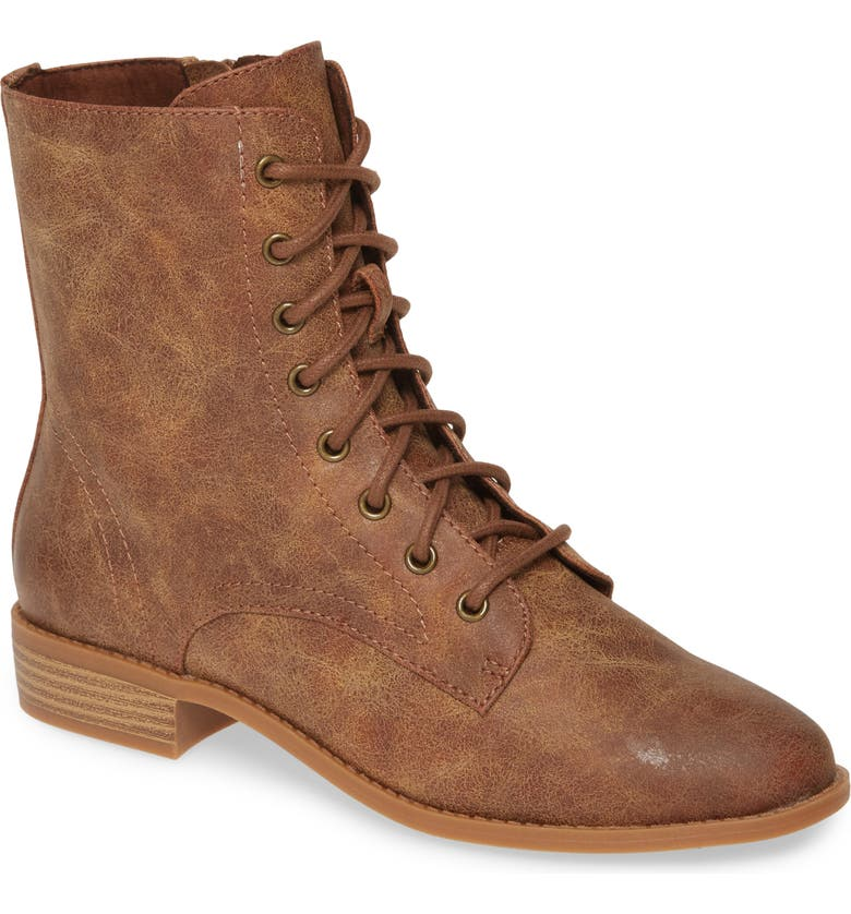 BC FOOTWEAR Girl Power Vegan Lace-Up Boot, Main, color, TAN FAUX LEATHER