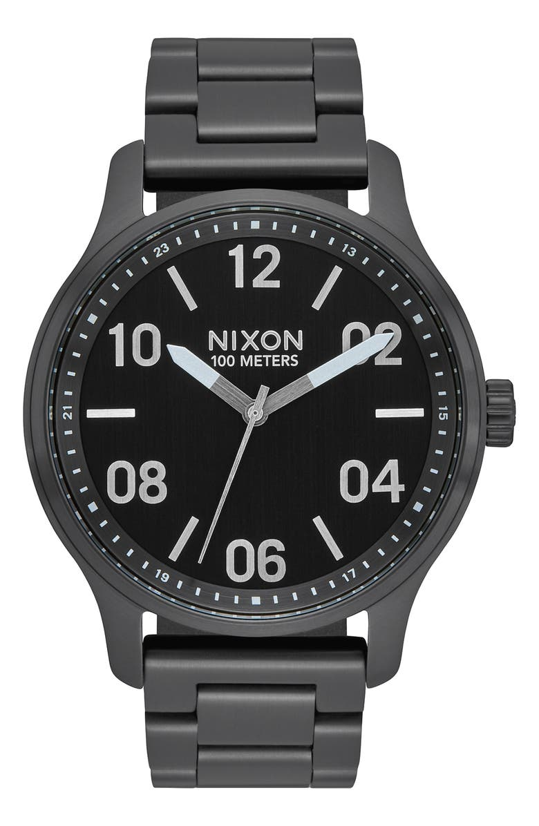 NIXON Patrol Bracelet Watch, 44mm, Main, color, BLACK/ SILVER