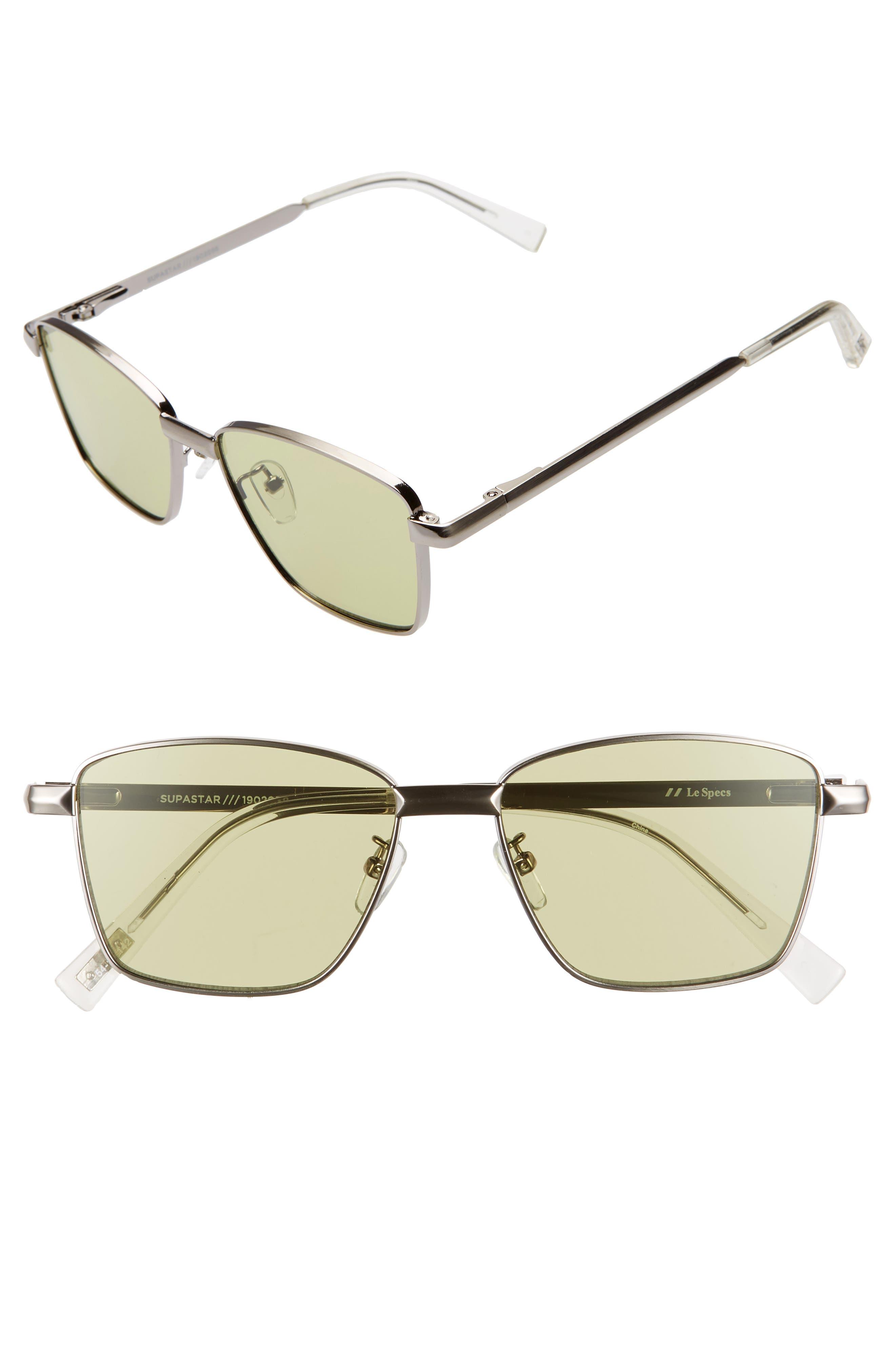 Le Specs Supastar 5m Tinted Square Sunglasses - Silver/ Green