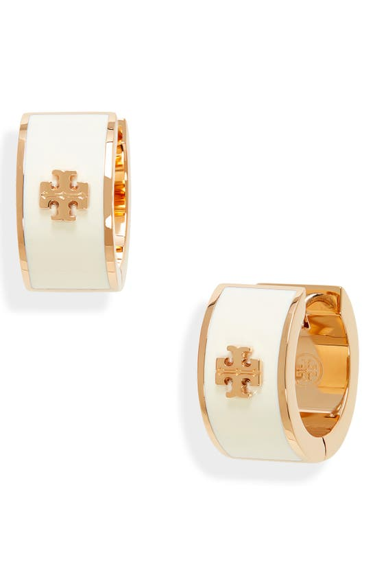 Tory Burch Kira Enameled Huggie Hoop Earring In Tory Gold / New Ivory