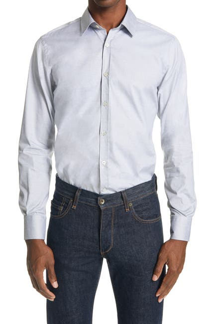 Image of Canali Slim Fit Solid Button-Up Shirt