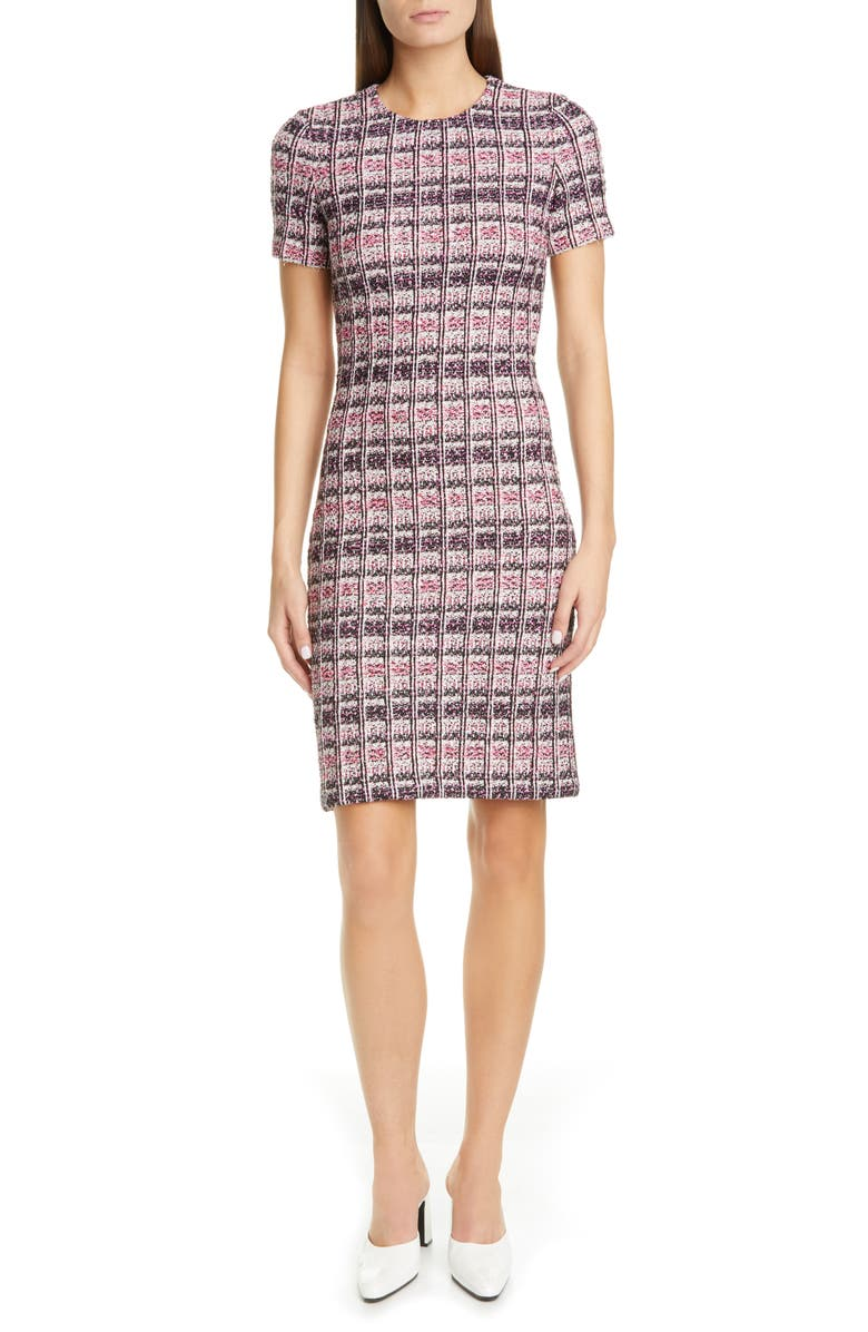 ST. JOHN COLLECTION Monarch Textured Tweed Knit Sheath Dress, Main, color, CAMELLIA MULTI
