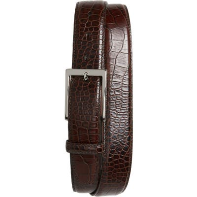 Torino Gator Grain Embossed Leather Belt, Brown