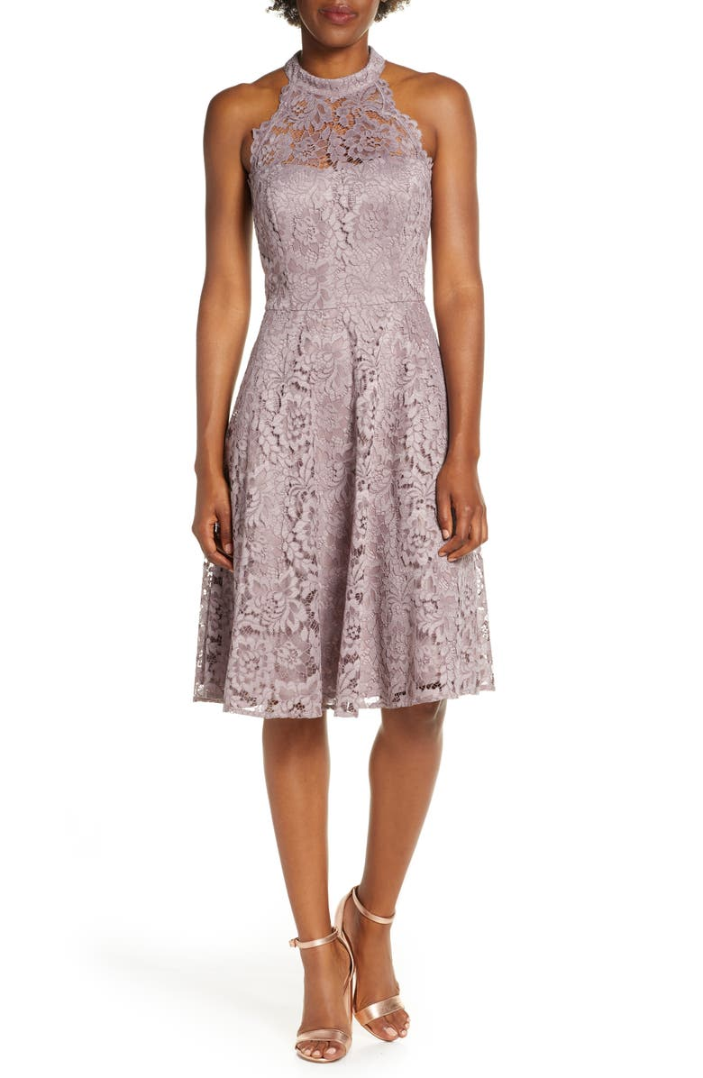 ELIZA J Halter Neck Lace Fit and Flare Dress, Main, color, GREY